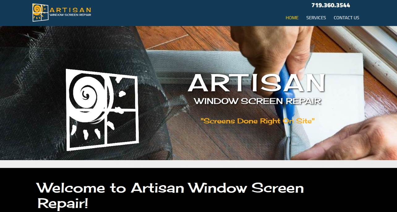 Picture of the new Artisan Window Screen Repair website