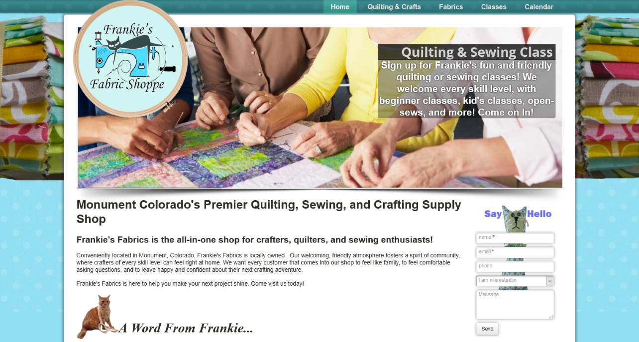 picture of the frankies fabrics website